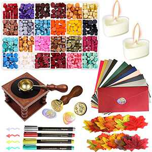 Wax Seal Stamp Kit,600pcs Sealing Wax Kit with 24 Colors Wax Seal Beads,Wax Seal Stamp Head,Wax Seal Warmer, Wax Spoon, Vintage Envelopes and Tealight Candles for Letter Sealing Crafts and Decoration