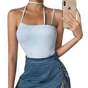 LUXUR Women's Sleeveless Blue Camisole Lace Up Bandage Bodycon Knitted Crop Top, Light Blue L