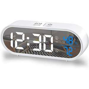 Digital Alarm Clock,Large Mirror LED Electronic Clock,with USB Charger Port,Temperature and Humidity Display,5 Levels Brightness,for Bedrooms Home,Office - White