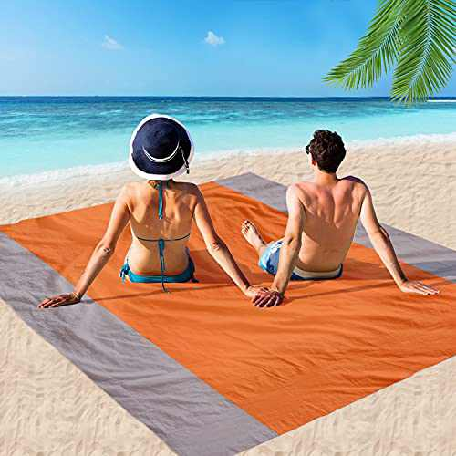 MIMITOOU Beach Blanket, Picnic Blankets Waterproof Sand Proof, 79X83 Inch Big & Compact Sand Proof Mat Quick Drying, Lightweight, Sand Proof Mat for Travel, Camping, Hiking