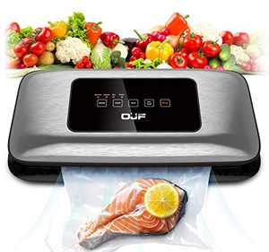OJF Vacuum Sealer Machine,Compact Automatic Food Sealer for Food Savers,Normal Gentle Dry Moist Food Modes,Easy to Clean,Led Indicator Light,10 Vacuum Bags Included