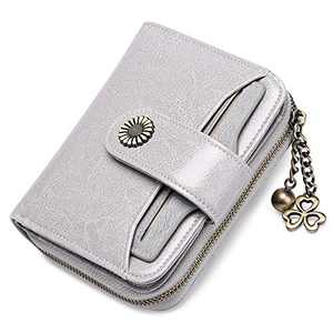 GOIACII Wallet For Women Leather Small RFID Blocking Bifold Zipper Pocket Card Holder with ID Window