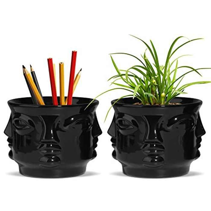 T4U Face Succulent Pot Ceramic Set of 2, Human Head Cactus Planter Small Flower Pot with Drainage Hole Indoor Bonsai Herb Container Decorative Gardening Gift for Home Office (Black)