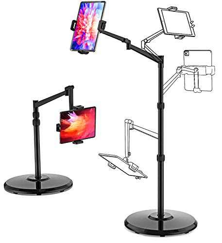 Smatree iPad Floor Stand, Tablet & Cell Phone Floor Stand Adjustable Height(15.7-55inch, Strong Stability, 360 Degree Rotating Compatible with Cell Phones and Tablet, iPad Mini
