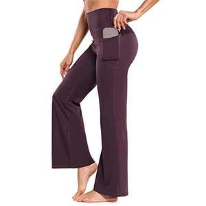 OLIOMES Women Bootcut Yoga Pants with Pockets Flared Leggings High Waisted Bootleg Workout Casual Lounge Sweatpants (X-Small, Purple)