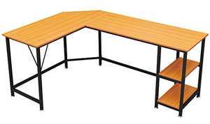 GreenForest L Shaped Desk 65.7x47 inch Large Size Corner Computer Desk with Storage Shelf Pc Workstation for Home Office Saving Space Writing Study Desk, Oak