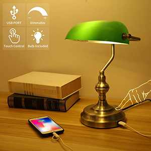 Liylan Bankers Desk Lamp with USB Charging Port, Traditional Table Light Touch Control for Office Library,3 Way Dimmable, Vintage Green Glass, Antique Brass Finish
