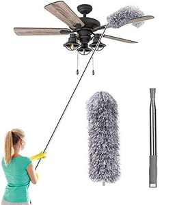 "Microfiber Duster with 100"" Extension Pole, Washable Bendable Head, Cobweb Feather Dusters for Cleaning High Ceiling, Ceiling Fan, Blinds, Furniture, Keyboard, Cars"