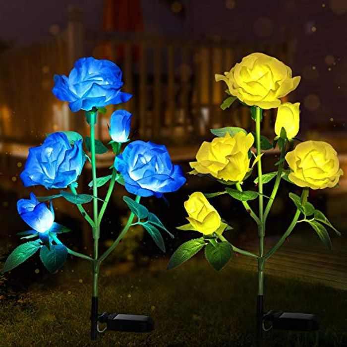 Tvird Solar Lights Outdoor Garden, Upgraded 2 Pack Garden Ornaments Outdoor Solar Flower Lights, 7 Color Changing Solar Garden Lights with 10 Bigger Rose Flower (Blue&Yellow)