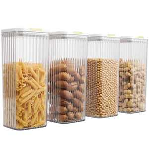 4 PC Food Storage Containers Pantry Container, Airtight Plastic Canisters Food Canisters for Kitchen Pantry Organization and Storage, White