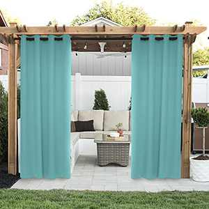 Drewin Outdoor Curtains for Patio Waterproof 1 Panel Windproof Weather Resistant Blackout Curtain Privacy Drapes Indoor Porch Gazebo Cabana Pergola Swimming Pool Sunroom Decor, Teal 52x84 Inches