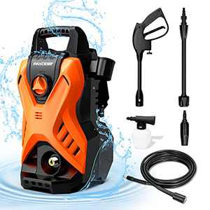 Paxcess Portable Pressure Car Washer, 1750 PSI 1.6GPM Electric Power Washer Machine with Adjustable Spray Nozzle Foam Cannon for for Driveways, Patios and Washing Vehicles