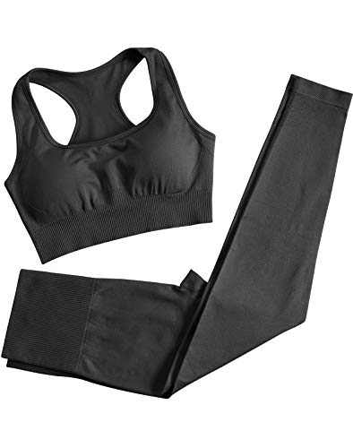 Women's Seamless Yoga Pants Set 2 Piece Workout Outfits Tight Running Leggings with Quick-Dry Sports Bra Exercise Gym Fitness Set (H007S-Black)