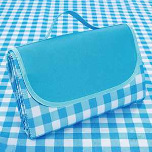 """Supzone Family Picnic Blanket Foldable 57""""x 79"""" Large Picnic Mat Outdoor Thick Waterproof Sandproof Picnic Blanket Mat for Spring Summer Park Outing Grass Beach Camping Mat-Blue White Classic Plaid"""