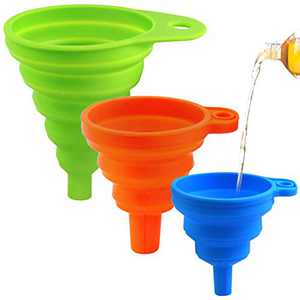 Comoyda Collapsible Funnels for Filling Bottles, Kitchen Funnel Set of 3, Small Medium Large Funnels for Water Bottle Liquid Transfer Food Grade