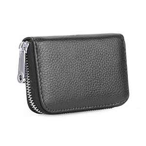 Credit Card Holder, Etercycle Leather Card Case Wallet with Zipper RFID Blocking Purse Small Accordion Wallets 14 Slots for Women Men(Black)