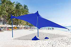 ABCCANOPY Beach Sunshade Tent UPF50+ UV Protection Portable Shelter Tarp Outdoor Shade for Beach, Camping Trips, Bonus Anchors, Sandbags (7x7 FT, Blue)