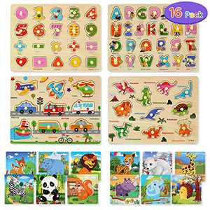 16 Pack Wooden Puzzles for Toddlers, Jigsaw Puzzles Alphabet & Numbers Puzzle, Preschool Educational Learning Toys for Kids