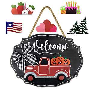 Delight Spirit Red Truck Welcome Sign for Front Door Home Decor Wall Hanging Rustic Home Decor Outdoor Decorations for Porch Seasonal Farmhouse Wooden Door Hello Sign for Holiday(Black)