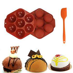 1 Pack Chocolate Molds Silicone Medium 7 Holes Sphere Silicone Molds for Baking Cake Mothers Day Gifts with Silicone Spatula Kit (7 holes)