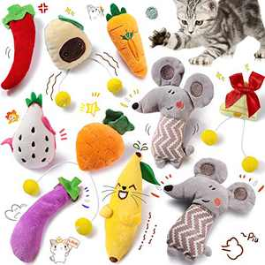 10 Pieces Cat Catnip Toys Cat Chewing Catnip Toys Cute Cat Entertaining Toys New Year Catnip Doll Cat Teeth Cleaning Chew Toys Set for Pet Kitten Cat Playing Chewing Grinding Claw and Teeth Cleaning