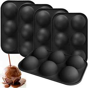 GABOX 5Pcs Semi Sphere Hot Chocolate Bomb Mold, Half Round Circle Globe Silicone Molds for Cocoa Ball Making Truffle Dome Cake Candy Baking - 6 Holes 2 Inches, Black Color
