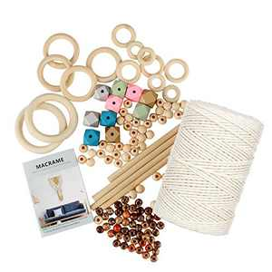 132 Pcs Macrame Kit, 3mm x 219 Yard Natural Cotton Cord with Wooden Sticks,Hoops Rings,Colored Bead, Book,Macrame DIY Kit for Beginners,Adults,Kids