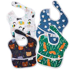 Tickleton Waterproof Baby Bibs for Eating 4 pcs │6-24 Months Infant Boy & Girl Feeding Bibs with Pocket │Machine Washable │Odor and Stain Resistant │Lightweight │Cute Unisex Designs with Bright Colors