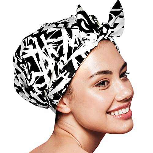 Shower Cap for Women Reusable Waterproof Turban Shower Cap for Women Long Hair - Graffiti