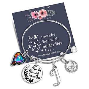 Yoosteel Memorial Jewelry Sympathy Gift, Cute Butterflies Bracelets Gifts Girls Bracelet Loss of a Mother Gift Sympathy Gifts Charm Bracelets for Women(J)