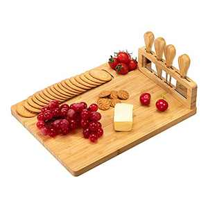 """PARANTA Bamboo Cheese Board Set, Containing 3 Stainless Steel Knives, Used For Cheese Fruit And Cooked Food Platter, Natural(14""""11"""")"""