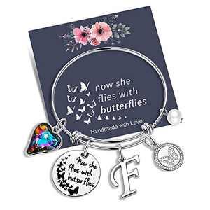 Yoosteel Memorial Jewelry Sympathy Gift, Silver Bracelets for Women Butterfly Bracelet Loss of a Mother Gift Sympathy Gifts Momerial Bracelet(F)