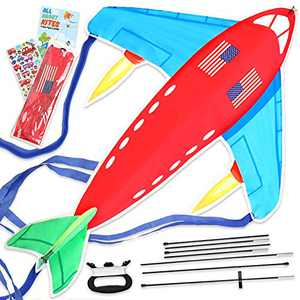 """Richtim Plane Kite Easy To Fly for Toddlers, Kids, and Adults, Large 35×47"""" Airplane Kite Kit for Outdoor Games, Beach and Backyard Fun, Beginner Set with Nylon Fabric, Fiberglass Rods, Line and Spool"""
