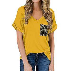 TOPIA STAR 2021 Womens Crewneck Sweatshirts Color Block Short Sleeve T-Shirt Tunic Tops (Yellow - C, S, s)