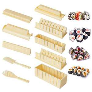 LOYALSE Sushi Making Kit for Beginners, 10 Pieces Plastic Sushi Maker Tool Complete with 8 Sushi Rice Roll Mold Shapes Fork Spatula DIY Home Sushi Tool