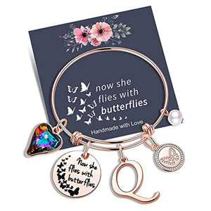 Yoosteel Memorial Jewelry Sympathy Gift, Rose Gold Butterfly Gifts Butterfly Bracelet Loss of a Mother Gift Sympathy Gifts Momerial Bracelet(Q)