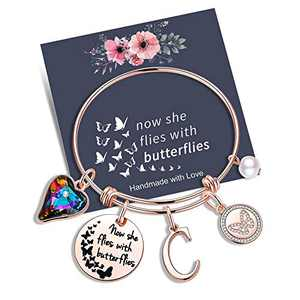 Yoosteel Memorial Jewelry Sympathy Gift, Rose Gold Butterflies Gifts Butterfly Bracelet Loss of a Mother Gift Charm Bracelets for Women(C)