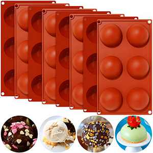 Round Candy Chocolate Molds Silicone Cake Mold Silicone Bakeware Set 6 Holes Silicone Baking Molds for DIY Chocolate, Cake, Jelly, Pudding, Dessert, Handmade Soap,11.2 x 6.5 Inch