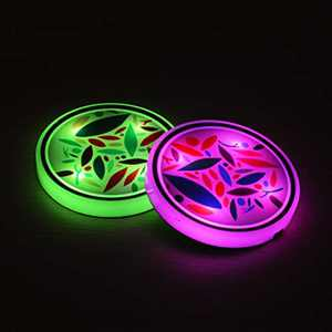Safego LED Car Cup Holder Lights Up Coasters, 7 Colors Changing USB Charging Mat Luminescent Cup Pad Interior Decoration Atmosphere Led Lamps 2Pcs