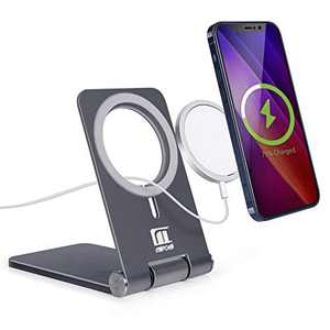Foldable Phone Stand for Magnetic Charger, Magnetic Stand Holder for iPhone 12/12 Pro/12 Pro Max/12 Mini, Magnetic Charger Stand, (Charger Not Included), Dark Grey