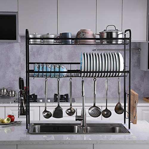 Kitchen Dish Rack Pantry, Stainless Steel Kitchen Bowl Rack Shelf Inner Length 90cm (Double Layer, Black)
