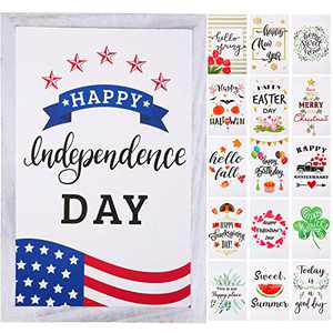Jetec Farmhouse Wall Decor Signs with 16 Interchangeable Seasonal Sayings and Picture Frame Rustic Wooden Wall Hanging Porch Decorations for 4th of July and Summer 12 x 8 Inch (Grey White)