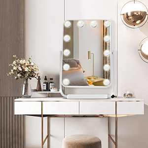 Hollywood Makeup Vanity Mirror with Lights, Large Lighted Light-up Plug in Mirror,3 Color Lighting Modes, Cosmetic Mirror with 12 Dimmable Bulbs for Dressing Room & Bedroom, Tabletop