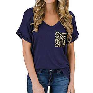 TOPIA STAR 2021 Womens Crewneck Sweatshirts Color Block Short Sleeve T-Shirt Tunic Tops (Navy Blue - C, S, s)
