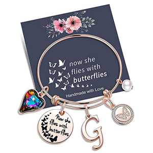 Yoosteel Memorial Jewelry Sympathy Gift, Rose Gold Butterfly Gifts Butterfly Bracelet Loss of a Mother Gift Sympathy Gifts Momerial Bracelet(G)