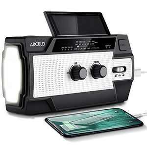 Solar Emergency Weather Radio,4000mAh Hand Crank Portable Radio with Led Flashlight,Reading Lamp,Usb Charger & SoS Alarm Perfect for Home & Emergency