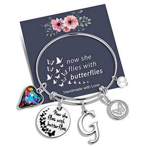 Yoosteel Memorial Jewelry Sympathy Gift, Now She Flies with Butterflies Gifts Butterfly Bracelet Loss of a Mother Gift Charm Bracelets for Women Girls(G)