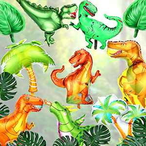 10 Pieces Giant Dinosaur Foil Balloons and Palm Tree Balloons Large T-rex Balloons Dinosaur Aluminum Balloons for Dinosaur Birthday Party Supplies Decorations