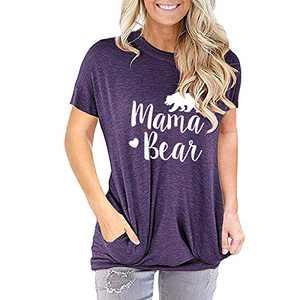 TOPIA STAR 2021 Womens Crewneck Sweatshirts Color Block Short Sleeve T-Shirt Tunic Tops (Purple - B, M, m)