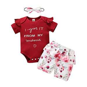 Baby Girls Letter Ribbed Romper Ruffle Bodysuit Floral Pants Shorts 3Pcs Outfits Red